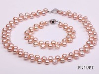 7-8mm Pink Flat Freshwater Pearl Necklace and Bracelet Set