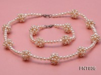 4.5mm White Freshwater Pearl Necklace and Bracelet Set