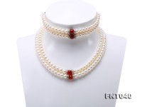 Tow-row 6-7mm White Freshwater Pearl & Red Agate Beads Necklace and Bracelet Set