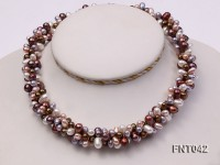 Three-strand 5x7mm Multi-color Freshwater Pearl Necklace and Bracelet Set
