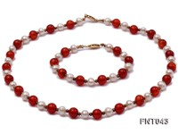 White Freshwater Pearl and Red Agate Beads Necklace and Bracelet Set