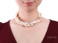 Six-strand 3-4 mm White Freshwater Pearl and White Seashell Pieces Necklace