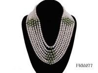 7 strand white freshwater pearl and green seashell pearl necklace with sterling sliver clasp