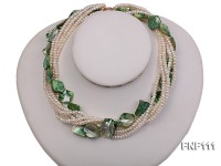 Six-strand 3-4mm White Freshwater Pearl and Green Sea-shell pieces Necklace
