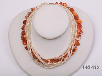 Six-strand 3-4mm White Freshwater Pearl and Orange Sea-shell pieces Necklace