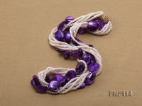 Six-strand White Freshwater Pearl and Purple Shell Pieces Necklace