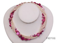 Multi-strand 3-4mm White Freshwater Pearl and Purple Seashell Pieces Necklace