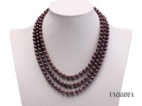 3 strand black freshwater pearl necklace with 14k gold clasp