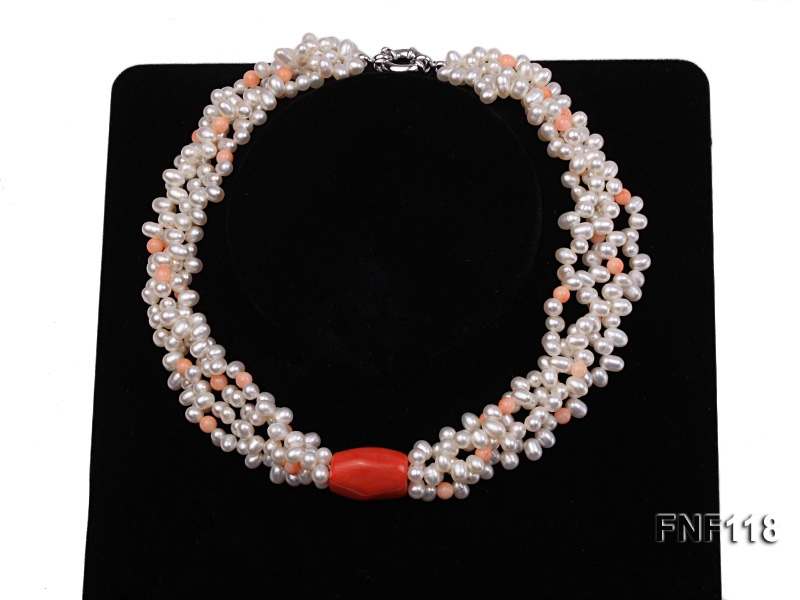 Four-strand 5-6mm White Freshwater Pearl Necklace with Coral Beads