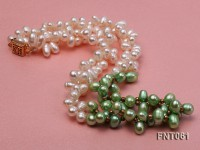6-7mm White & Green Freshwater Pearl Necklace and Bracelet Set
