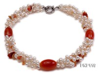 Three-strand White Freshwater Pearl Necklace with Red Agate Beads
