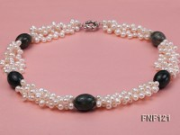 Three-strand 5-6mm White Freshwater Pearl Necklace with Dark-green Agate Beads