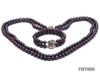 Two-strand 8-9mm Dark-purple Freshwater Pearl Necklace and Bracelet Set