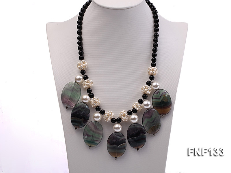 Black Agate Necklace with White Freshwater Pearls and Purple Fluorite Pendants