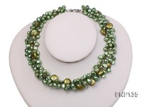 Three-strand Green Flat Freshwater Pearl and Dark-green Button Pearl Necklace
