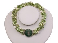 Four-strand 7-8mm Green Freshwater Pearl Necklace with White Seashell Pieces