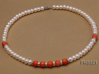 8-9mm natural white flat freshwater pearl with red coral single strand necklace