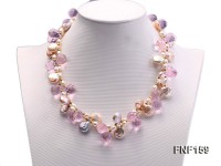 Tow-strand 6-7mm White Freshwater Pearl, Pink Button Pearl and Purple Crystal Beads Necklace