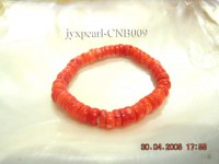 8.5-9mm Cylinder-Shaped Orange Coral Bracelet