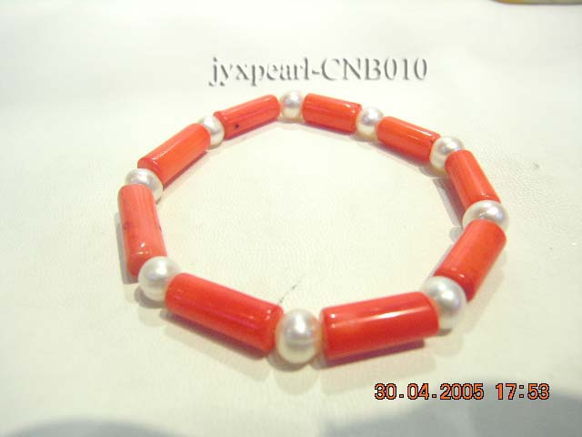 7x15mm Red Cylindrical-Shaped Coral and White Pearl Bracelet