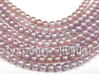 Wholesale AAA-grade 7-8mm Natural Lavender Round Freshwater Pearl String