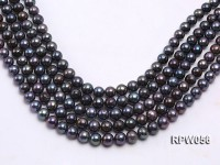 Wholesale A-grade 11-12mm Black Round Freshwater Pearl String