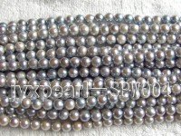 7.5-8mm Light Violet Round Seawater Pearl String