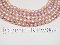Wholesale 9-10mm Natural Pink&Natural Lavender Round Freshwater Pearl String