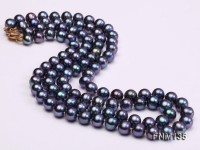 2 strand 8-8.5mm dark peuple freshwater pearl necklace