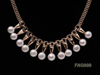 Gold-plated Metal Chain Necklace dotted with 8.5mm White Freshwater Pearls