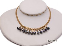Gold-plated Metal Chain Necklace dotted with 8.5mm Black Freshwater Pearls