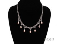 Gold-plated Metal Chain Necklace dotted with 7x8mm Pink Freshwater Pearls