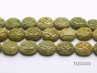 Wholesale 25x35mm Oval Green Carved Turquoise Beads String