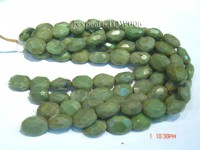Wholesale 17x25mm Oval Green Faceted Turquoise Beads String
