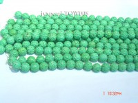 Wholesale 15mm Round Green Carved Turquoise Beads String