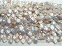 Wholesale 12x13mm Classic White Button-shaped Cultured Freshwater Pearl String