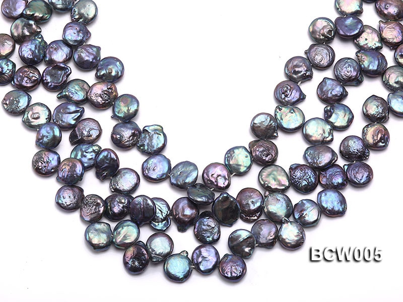 Wholesale 12-15mm Black Button-shaped Cultured Freshwater Pearl String