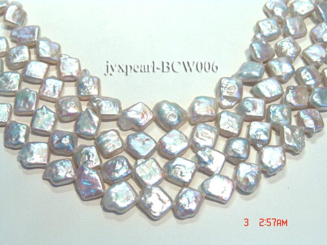 Wholesale 11x13mm Classic White Rhombic Cultured Freshwater Pearl String