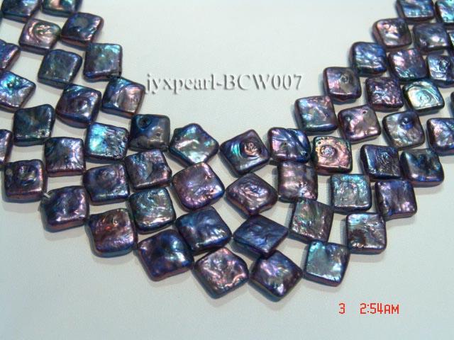 Wholesale 13mm Black Rhombic Cultured Freshwater Pearl String