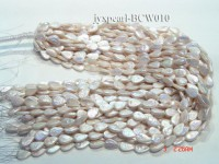 Wholesale 9x13mm White Button-shaped Freshwater Pearl String