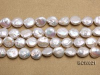 Wholesale 12.5x15mm White Button-shaped Freshwater Pearl String