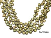 Wholesale 12-13mm Apple Green Button-shaped Cultured Freshwater Pearl String