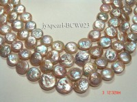 Wholesale 11-14mm Pink Button-shaped Cultured Freshwater Pearl String
