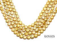 Wholesale 13mm Yellow Button-shaped Cultured Freshwater Pearl String