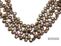 Wholesale 12-14mm Coffee Button-shaped Cultured Freshwater Pearl String
