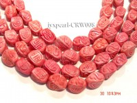 Wholesale 11x16mm Irregular Red Carved Coral Beads Loose String