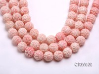 Wholesale 16mm Round Red Carved Tridacna Shell Beads Loose String