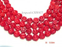 Wholesale 6.5x11mm Flower-shaped Red Coral Beads Loose String