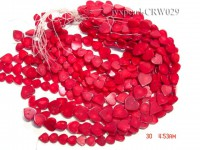 Wholesale 16.5-17mm Heart-shaped Red Coral Beads Loose String