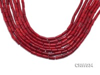 Wholesale 4x12mm Pillar-shaped Red Coral Beads Loose String